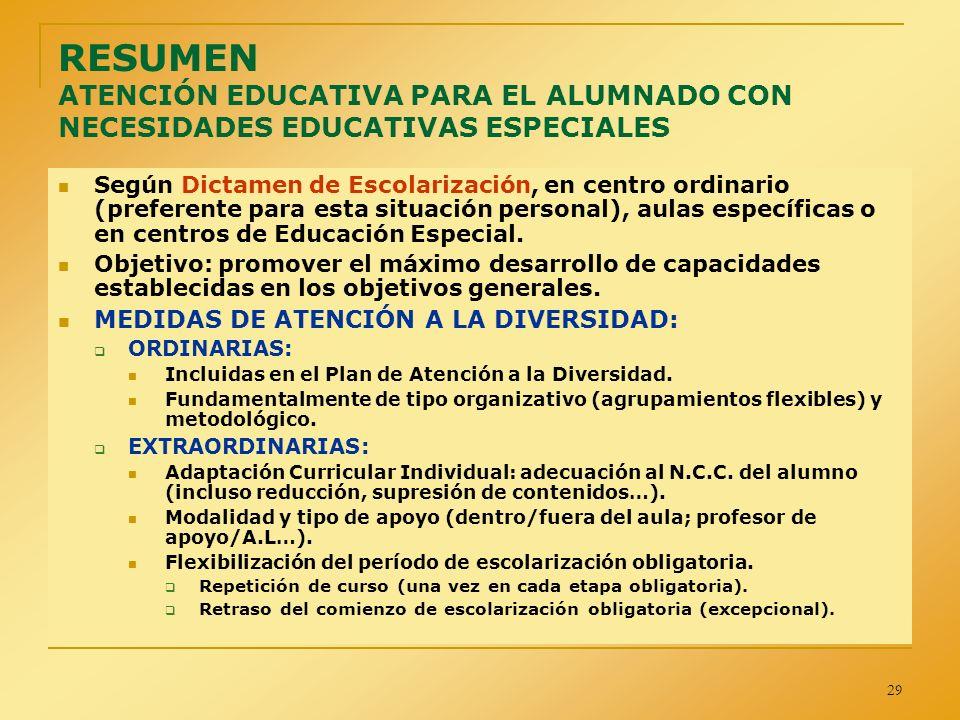 29 RESUMEN ATENCIÓN EDUCATIVA PARA EL ALUMNADO CON NECESIDADES EDUCATIVAS ESPECIALES Según Dictamen de Escolarización, en centro ordinario (preferente