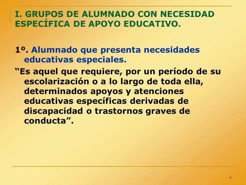 4 I. GRUPOS DE ALUMNADO CON NECESIDAD ESPECÍFICA DE APOYO EDUCATIVO. 1º. Alumnado que presenta necesidades educativas especiales. Es aquel que requier