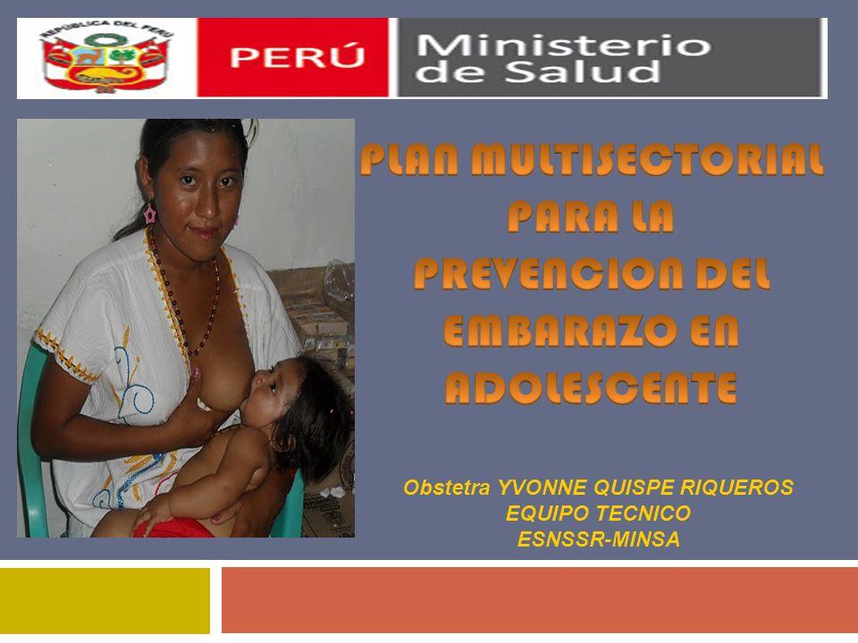 PLAN NACIONAL MULTISECTORIAL DE PREVENCIÓN DEL EMBARAZO NO PLANIFICADO EN ADOLESCENTE 2011-2021 LINEAS DE ACCIÓN ESTRATÉGICAS 7.Redes de protección y apoyo social con participación comunitaria.