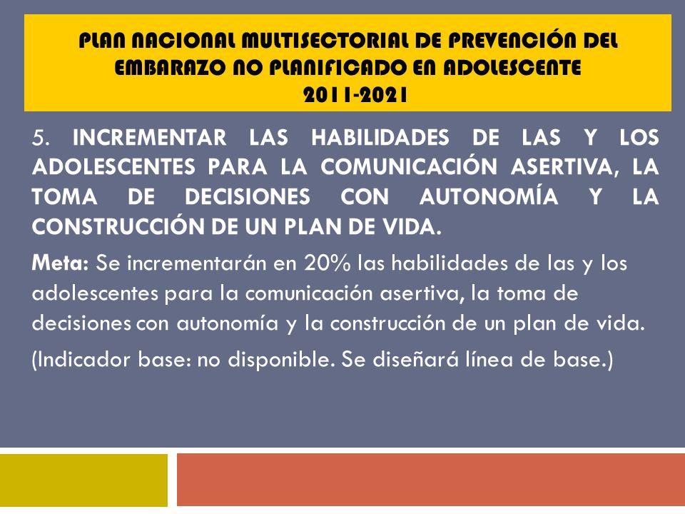 PLAN NACIONAL MULTISECTORIAL DE PREVENCIÓN DEL EMBARAZO NO PLANIFICADO EN ADOLESCENTE 2011-2021 5. INCREMENTAR LAS HABILIDADES DE LAS Y LOS ADOLESCENT