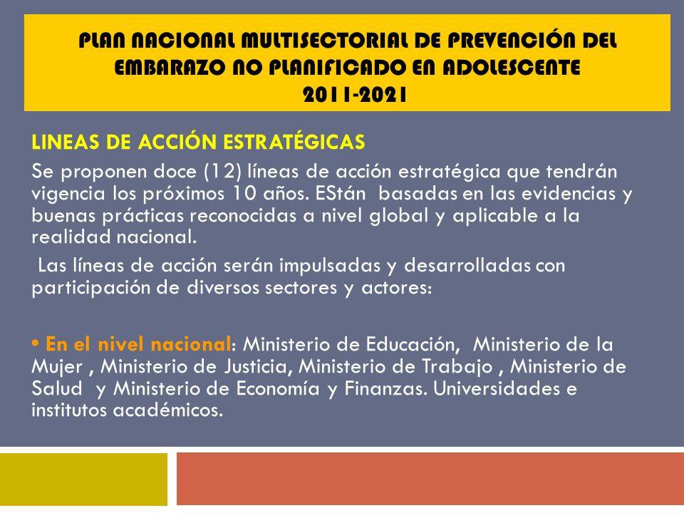 PLAN NACIONAL MULTISECTORIAL DE PREVENCIÓN DEL EMBARAZO NO PLANIFICADO EN ADOLESCENTE 2011-2021 LINEAS DE ACCIÓN ESTRATÉGICAS Se proponen doce (12) lí