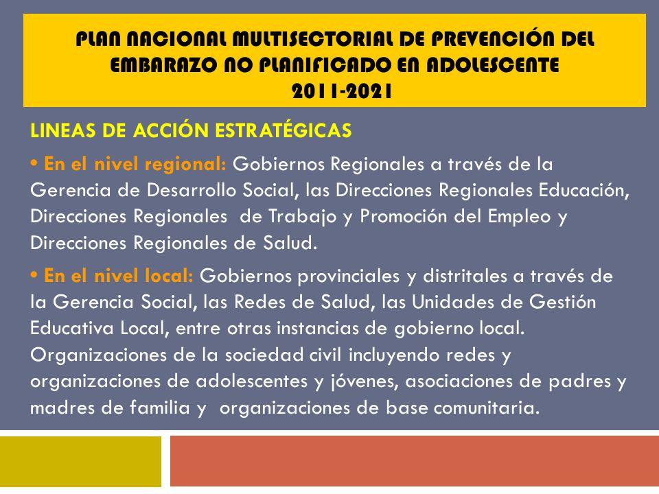 PLAN NACIONAL MULTISECTORIAL DE PREVENCIÓN DEL EMBARAZO NO PLANIFICADO EN ADOLESCENTE 2011-2021 LINEAS DE ACCIÓN ESTRATÉGICAS En el nivel regional: Go