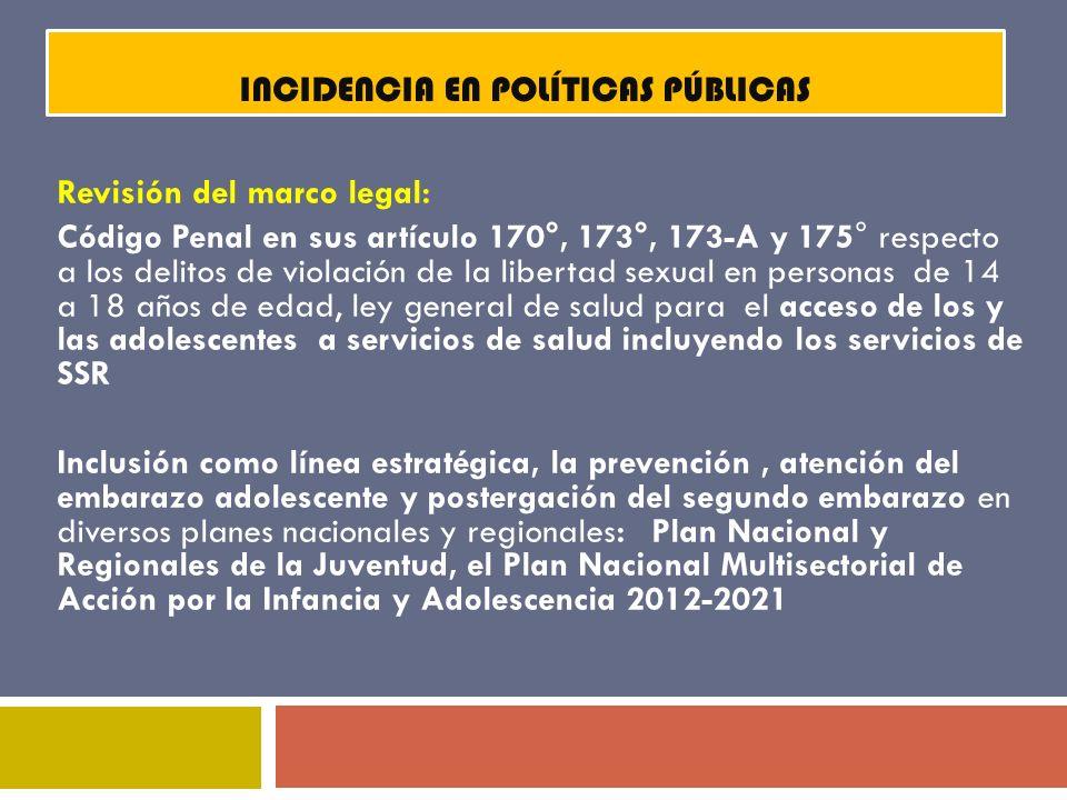 INCIDENCIA EN POLÍTICAS PÚBLICAS Revisión del marco legal: Código Penal en sus artículo 170°, 173°, 173-A y 175° respecto a los delitos de violación d