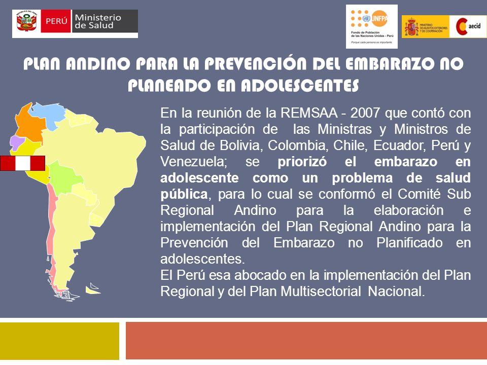 PLAN ANDINO PARA LA PREVENCIÓN DEL EMBARAZO NO PLANEADO EN ADOLESCENTES En la reunión de la REMSAA - 2007 que contó con la participación de las Minist
