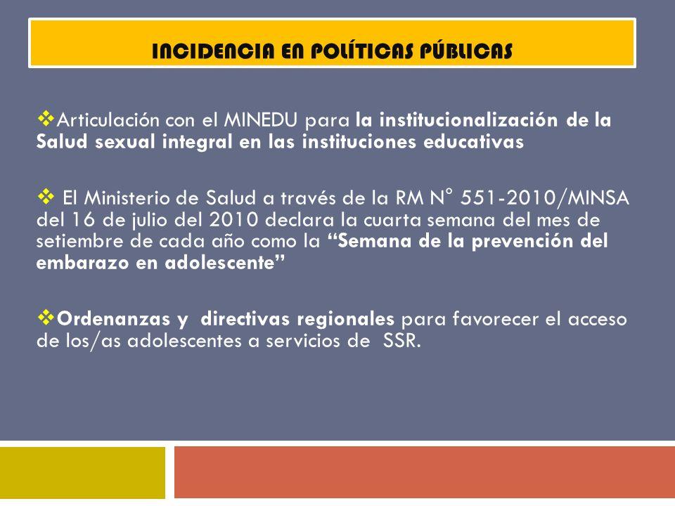 PLAN NACIONAL MULTISECTORIAL DE PREVENCIÓN DEL EMBARAZO NO PLANIFICADO EN ADOLESCENTE 2011-2021 LINEAS DE ACCIÓN ESTRATÉGICAS En el nivel regional: Gobiernos Regionales a través de la Gerencia de Desarrollo Social, las Direcciones Regionales Educación, Direcciones Regionales de Trabajo y Promoción del Empleo y Direcciones Regionales de Salud.