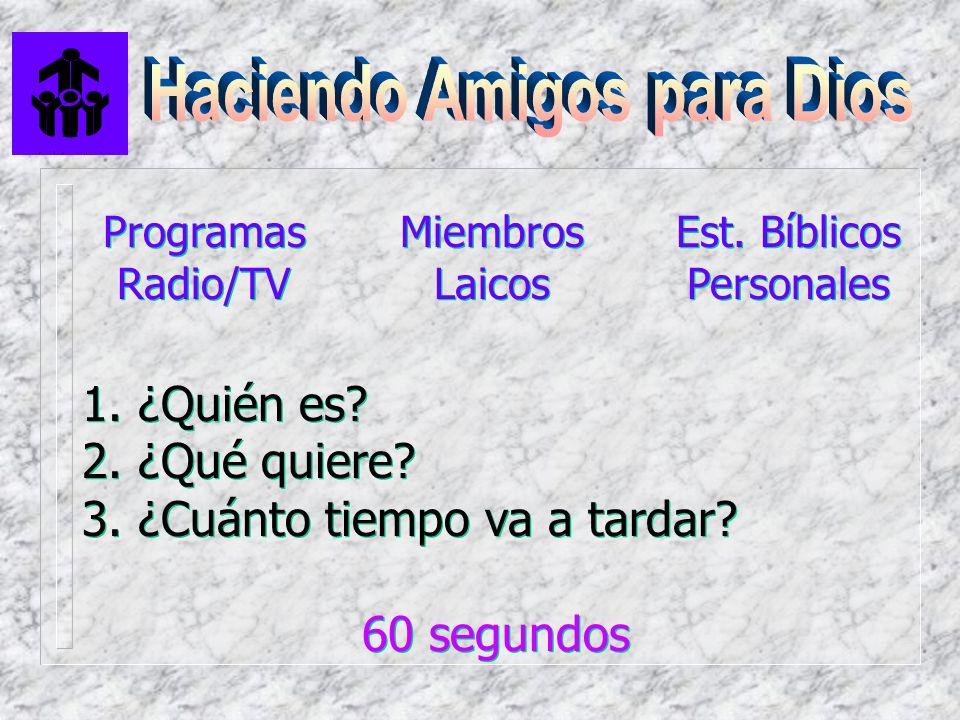 Programas Radio/TV Programas Radio/TV Miembros Laicos Est. Bíblicos Personales Est. Bíblicos Personales 1. ¿Quién es? 2. ¿Qué quiere? 3. ¿Cuánto tiemp