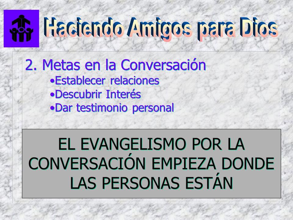 2. Metas en la Conversación Establecer relaciones Descubrir Interés Dar testimonio personal 2. Metas en la Conversación Establecer relaciones Descubri