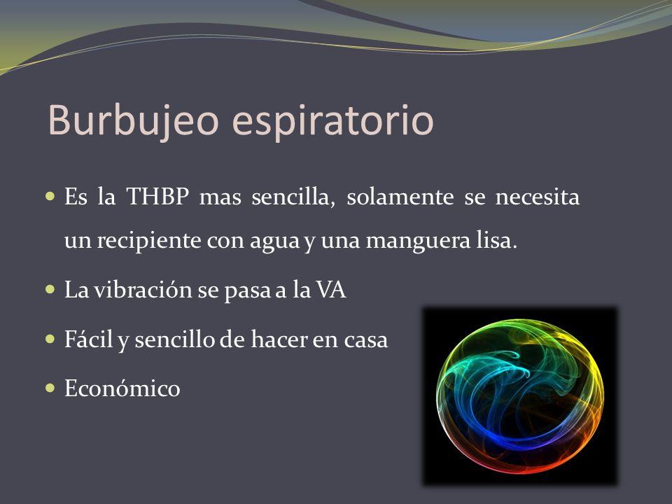 Burbujeo espiratorio Es la THBP mas sencilla, solamente se necesita un recipiente con agua y una manguera lisa. La vibración se pasa a la VA Fácil y s