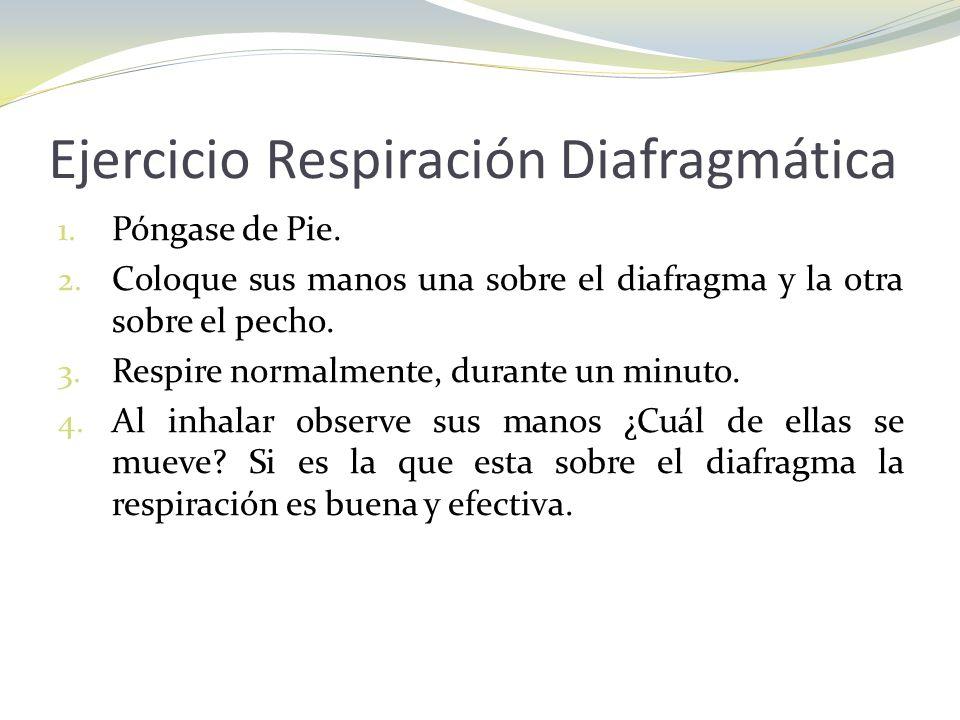 Ejercicio Respiración Diafragmática 1. Póngase de Pie. 2. Coloque sus manos una sobre el diafragma y la otra sobre el pecho. 3. Respire normalmente, d