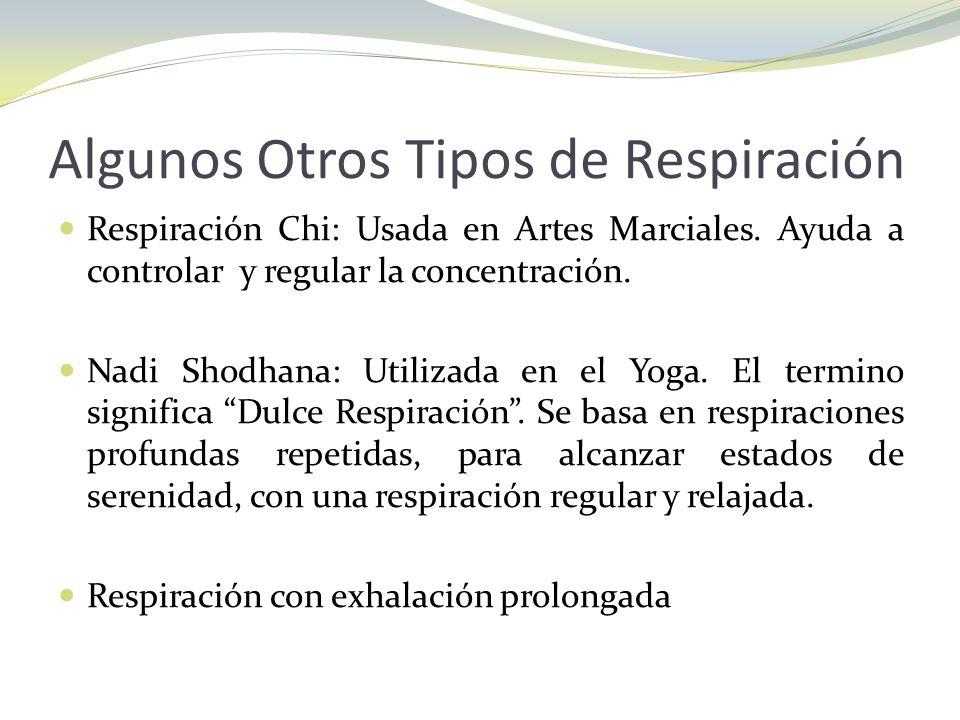 Algunos Otros Tipos de Respiración Respiración Chi: Usada en Artes Marciales. Ayuda a controlar y regular la concentración. Nadi Shodhana: Utilizada e