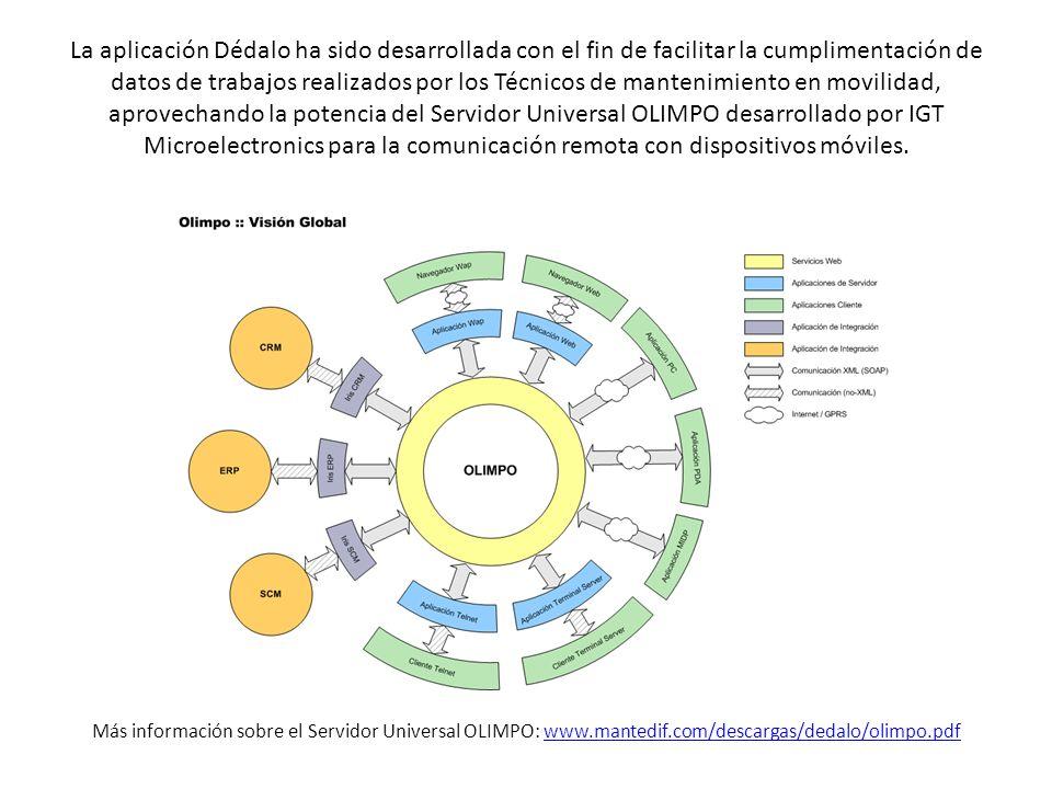 La aplicación Dédalo ha sido desarrollada con el fin de facilitar la cumplimentación de datos de trabajos realizados por los Técnicos de mantenimiento