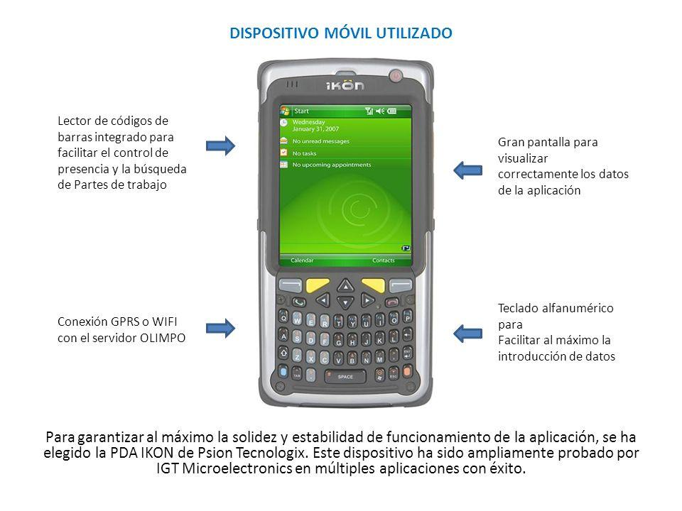 DISPOSITIVO MÓVIL UTILIZADO Para garantizar al máximo la solidez y estabilidad de funcionamiento de la aplicación, se ha elegido la PDA IKON de Psion