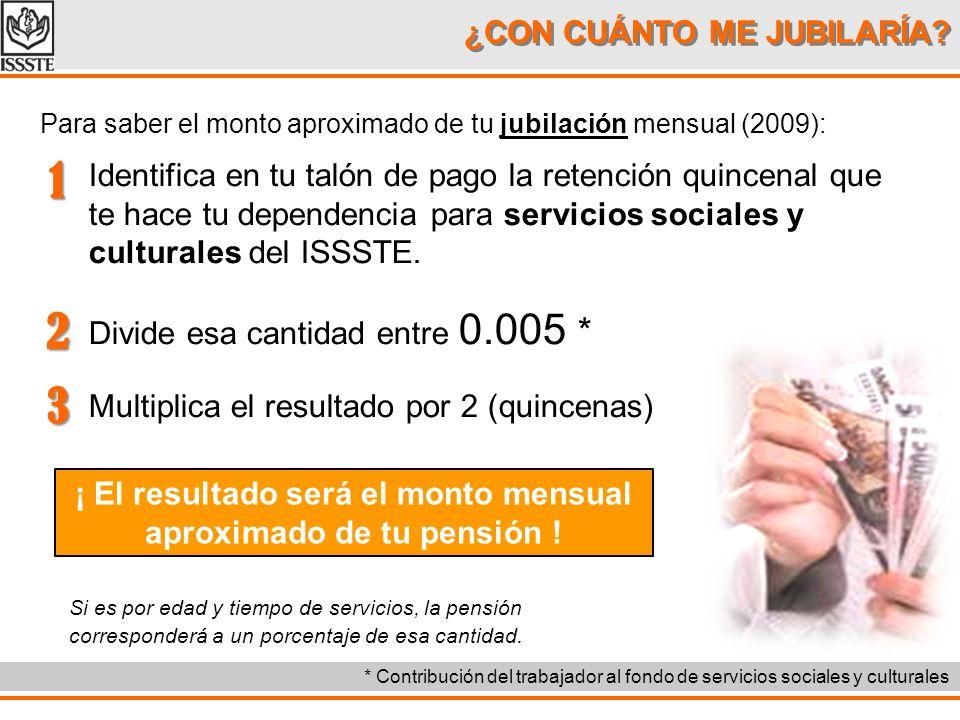 ¿CON CUÁNTO ME JUBILARÍA? Para saber el monto aproximado de tu jubilación mensual (2009): Identifica en tu talón de pago la retención quincenal que te