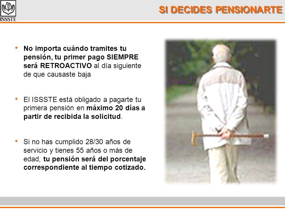 SI DECIDES PENSIONARTE No importa cuándo tramites tu pensión, tu primer pago SIEMPRE será RETROACTIVO al día siguiente de que causaste baja El ISSSTE