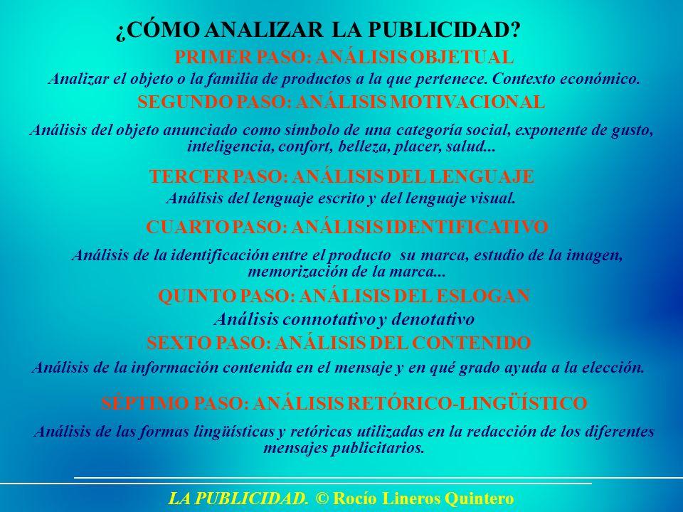 LA PUBLICIDAD. © Rocío Lineros Quintero ¿CÓMO ANALIZAR LA PUBLICIDAD? PRIMER PASO: ANÁLISIS OBJETUAL Analizar el objeto o la familia de productos a la