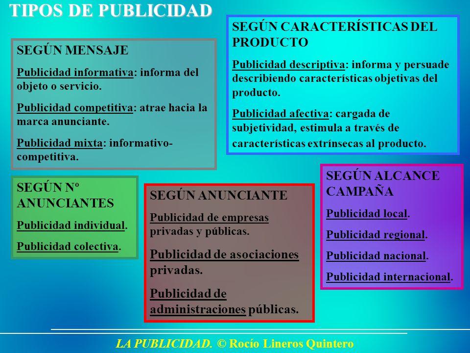 LA PUBLICIDAD. © Rocío Lineros Quintero TIPOS DE PUBLICIDAD SEGÚN MENSAJE Publicidad informativa: informa del objeto o servicio. Publicidad competitiv
