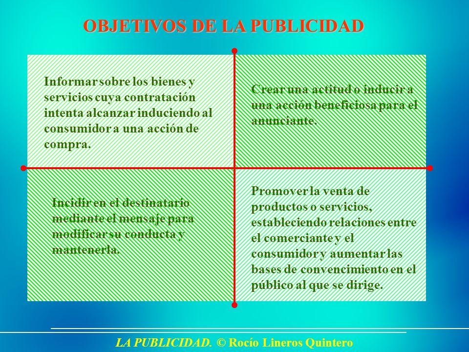 LA PUBLICIDAD. © Rocío Lineros Quintero OBJETIVOS DE LA PUBLICIDAD Informar sobre los bienes y servicios cuya contratación intenta alcanzar induciendo