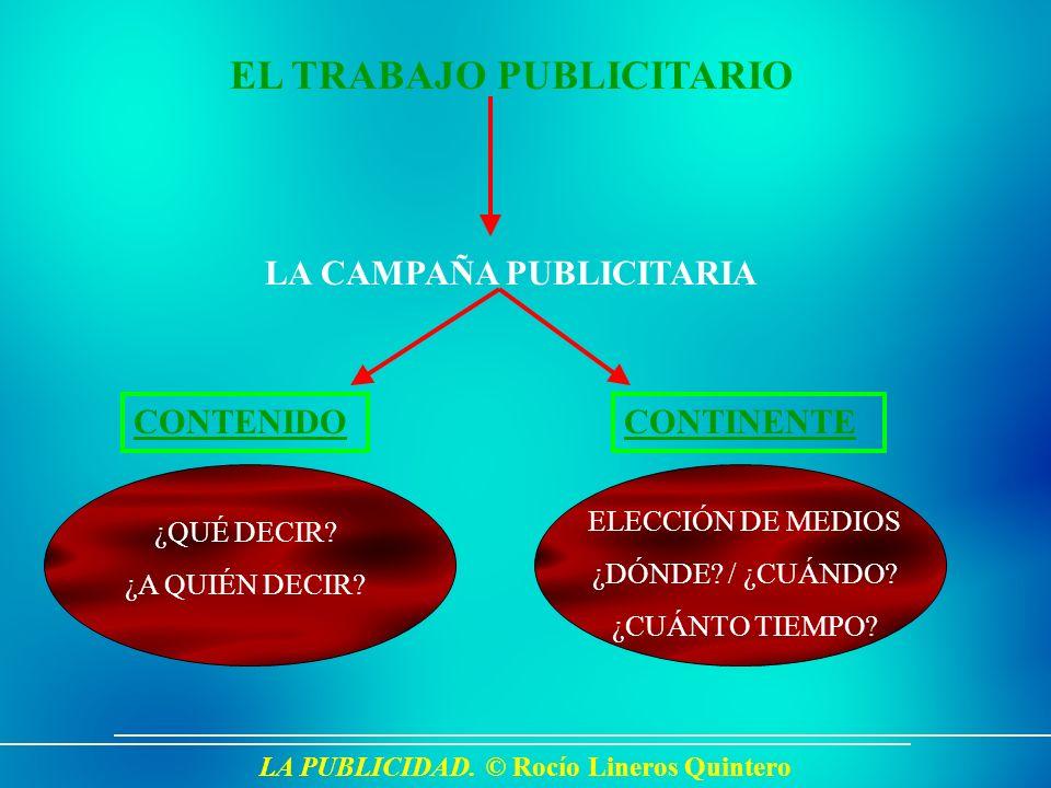 LA PUBLICIDAD. © Rocío Lineros Quintero EL TRABAJO PUBLICITARIO LA CAMPAÑA PUBLICITARIA CONTENIDOCONTINENTE ¿QUÉ DECIR? ¿A QUIÉN DECIR? ELECCIÓN DE ME