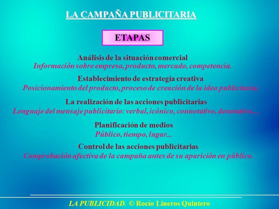 LA PUBLICIDAD. © Rocío Lineros Quintero LA CAMPAÑA PUBLICITARIA ETAPAS Análisis de la situación comercial Información sobre empresa, producto, mercado