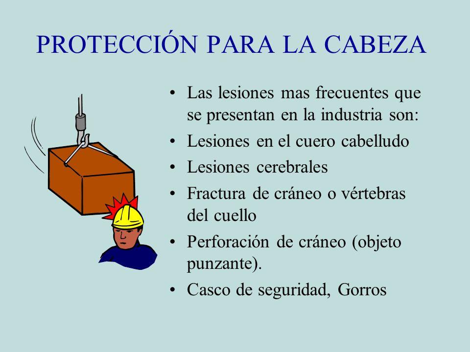 PROTECCIÓN PARA LA CABEZA Las lesiones mas frecuentes que se presentan en la industria son: Lesiones en el cuero cabelludo Lesiones cerebrales Fractur