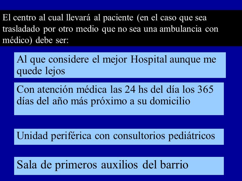 El centro al cual llevará al paciente (en el caso que sea trasladado por otro medio que no sea una ambulancia con médico) debe ser: Con atención médic