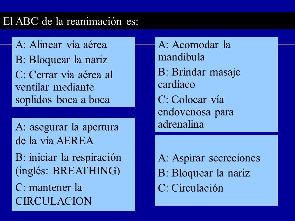 El ABC de la reanimación es: A: asegurar la apertura de la vía AEREA B: iniciar la respiración (inglés: BREATHING) C: mantener la CIRCULACION A: Aspir