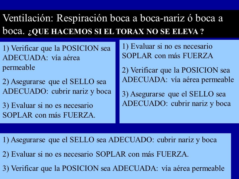 Ventilación: Respiración boca a boca-nariz ó boca a boca. ¿QUE HACEMOS SI EL TORAX NO SE ELEVA ? 1) Verificar que la POSICION sea ADECUADA: vía aérea
