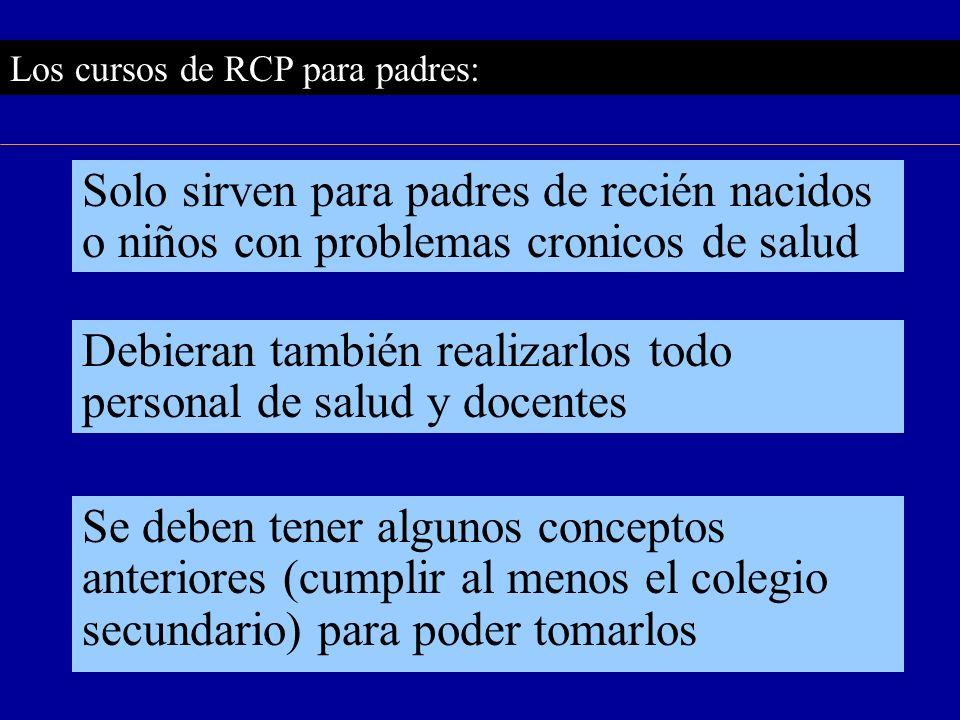 Los cursos de RCP para padres: Solo sirven para padres de recién nacidos o niños con problemas cronicos de salud Se deben tener algunos conceptos ante