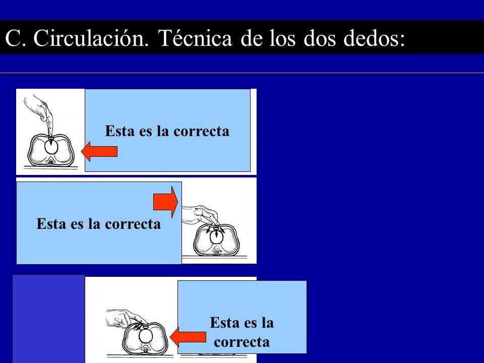 C. Circulación. Técnica de los dos dedos: Esta es la correcta Esta es la correcta