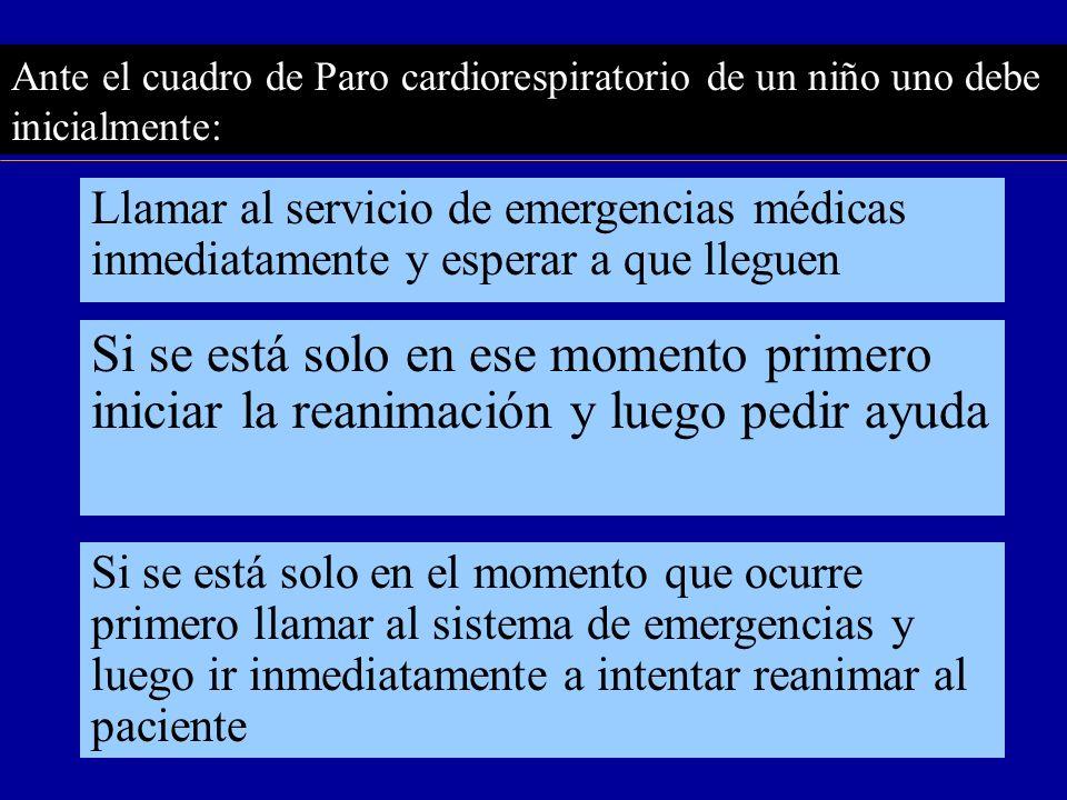 Ante el cuadro de Paro cardiorespiratorio de un niño uno debe inicialmente: Llamar al servicio de emergencias médicas inmediatamente y esperar a que l