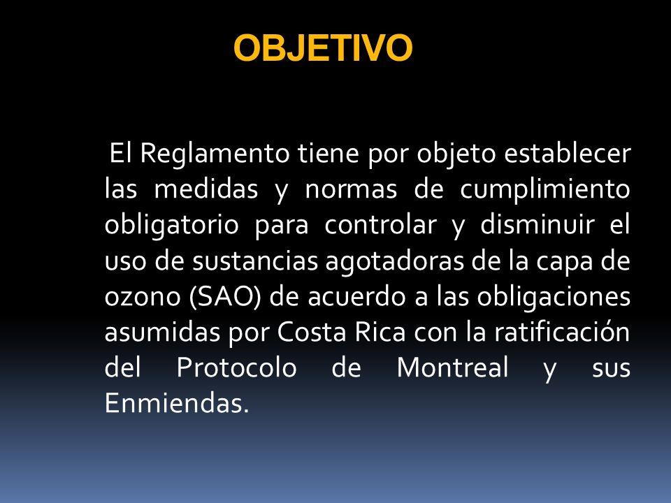 ANTECEDENTES Y JUSTIFICACIÓN Con la suscripción del Convenio de Viena para la Protección de la Capa de Ozono (Ley No 7228), y el Protocolo de Montreal (Ley No 7223) y sus enmiendas, Costa Rica adquirió compromisos para establecer normas para el control, disminución y sustitución de las sustancias que agotan la capa de ozono.