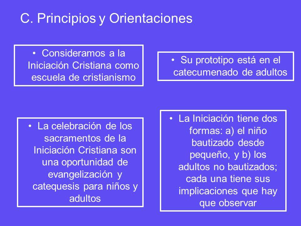 C. Principios y Orientaciones Consideramos a la Iniciación Cristiana como escuela de cristianismo Su prototipo está en el catecumenado de adultos La c