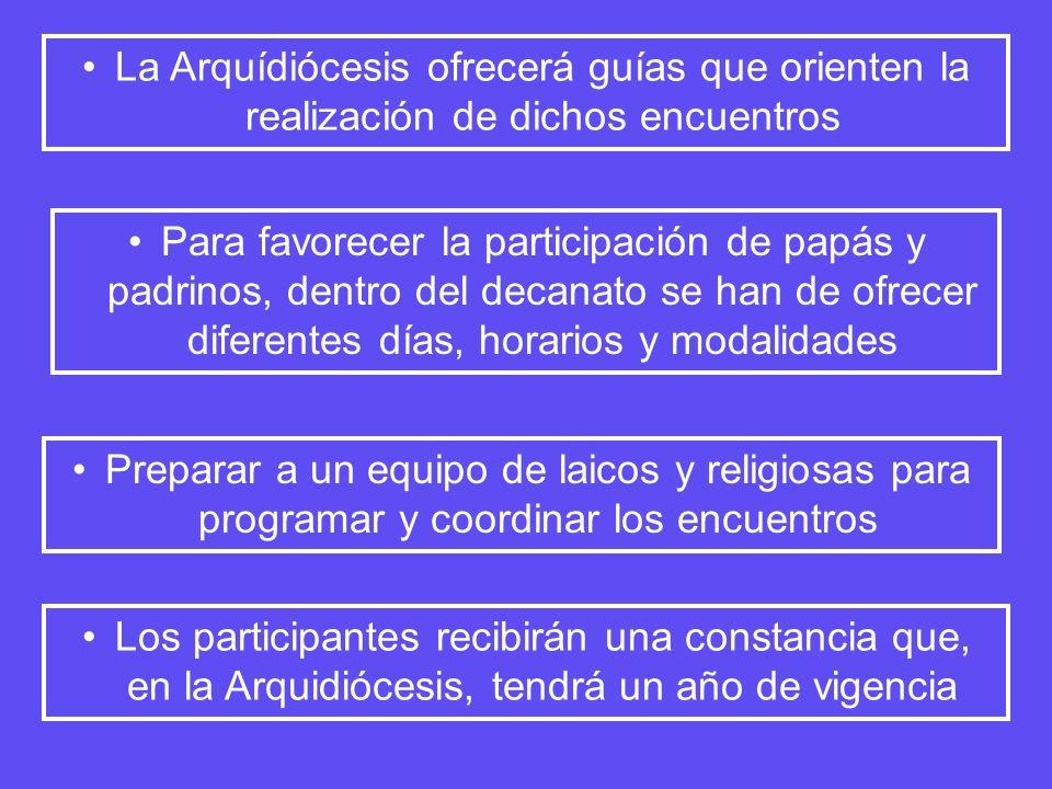 La Arquídiócesis ofrecerá guías que orienten la realización de dichos encuentros Para favorecer la participación de papás y padrinos, dentro del decan