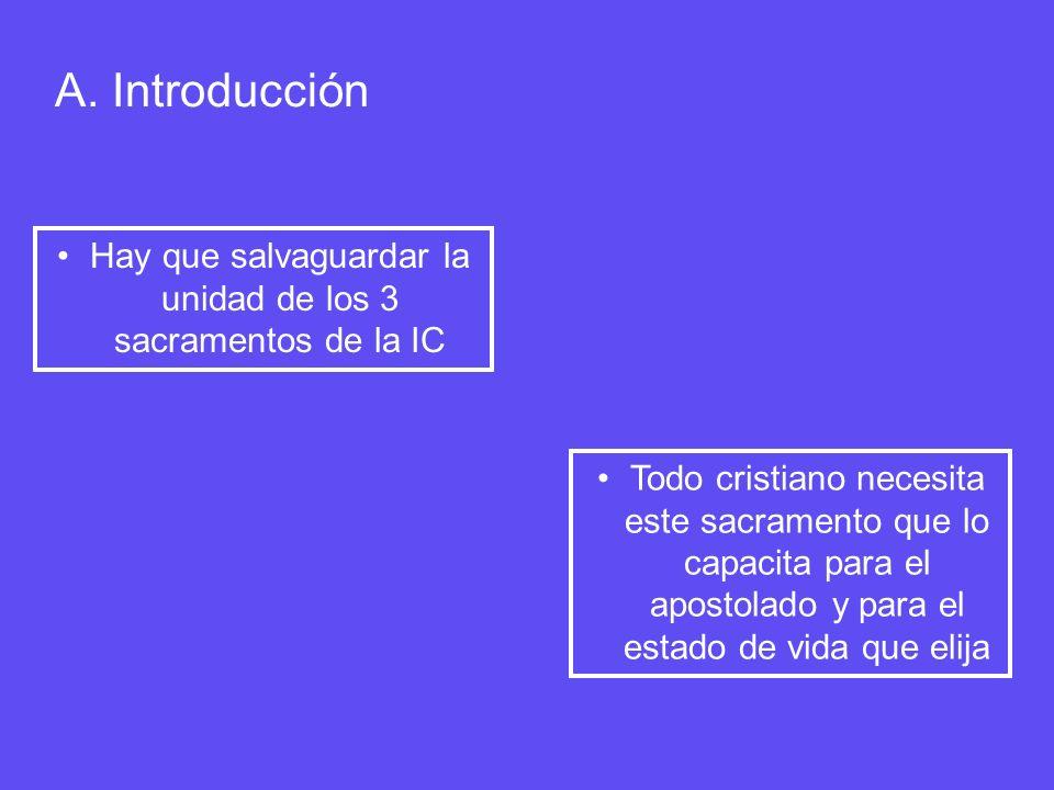 A. Introducción Hay que salvaguardar la unidad de los 3 sacramentos de la IC Todo cristiano necesita este sacramento que lo capacita para el apostolad