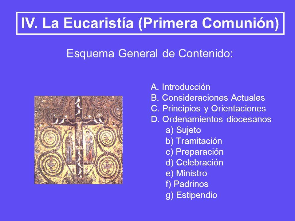 IV. La Eucaristía (Primera Comunión) Esquema General de Contenido: A. Introducción B. Consideraciones Actuales C. Principios y Orientaciones D. Ordena
