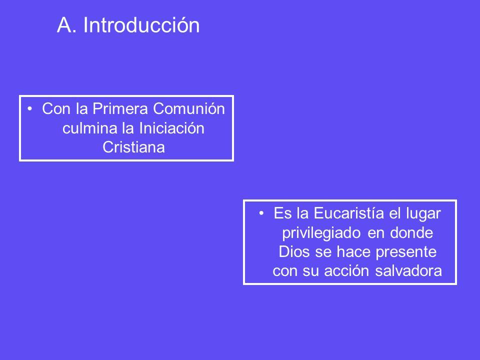 A. Introducción Con la Primera Comunión culmina la Iniciación Cristiana Es la Eucaristía el lugar privilegiado en donde Dios se hace presente con su a
