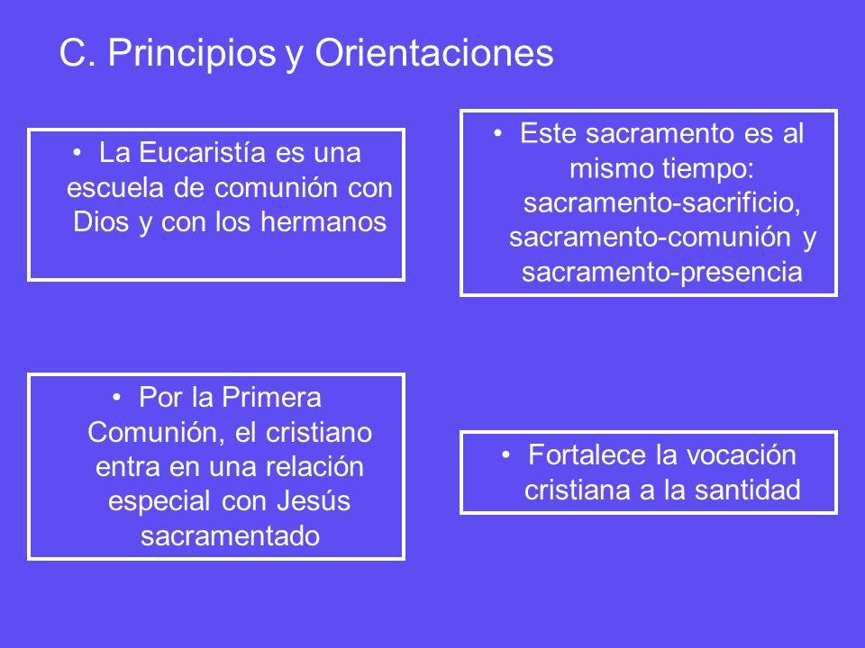 C. Principios y Orientaciones La Eucaristía es una escuela de comunión con Dios y con los hermanos Este sacramento es al mismo tiempo: sacramento-sacr