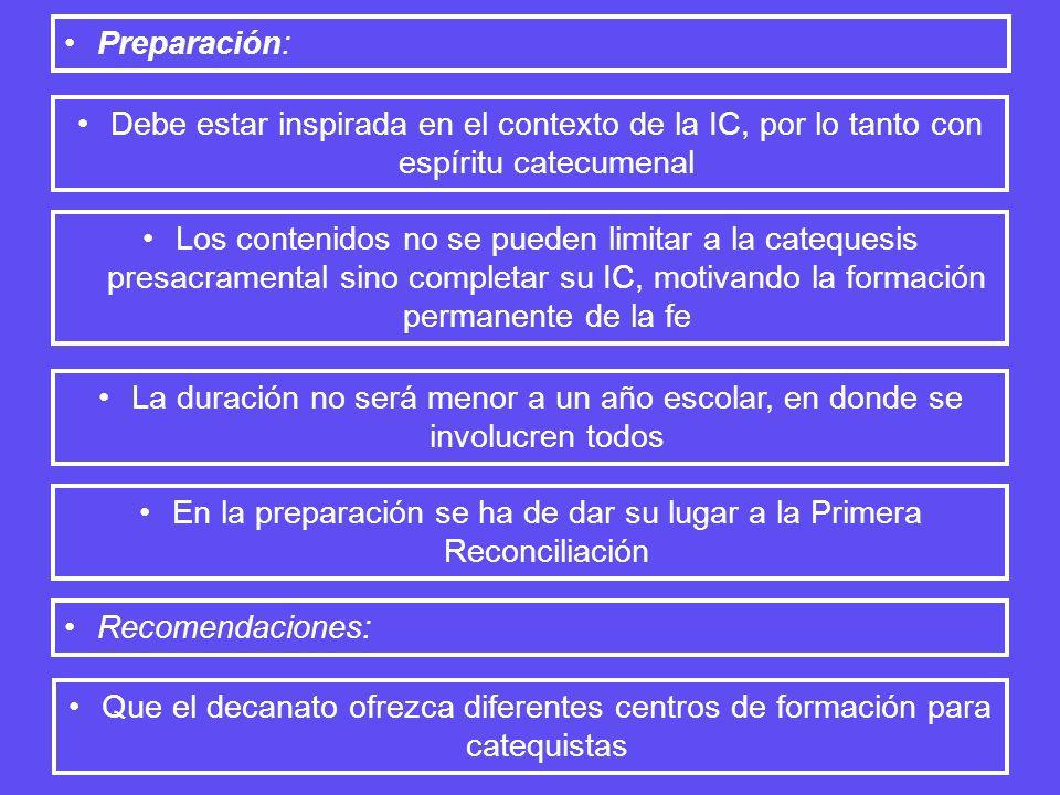 Preparación: Debe estar inspirada en el contexto de la IC, por lo tanto con espíritu catecumenal Los contenidos no se pueden limitar a la catequesis p