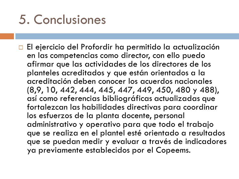 5. Conclusiones El ejercicio del Profordir ha permitido la actualización en las competencias como director, con ello puedo afirmar que las actividades