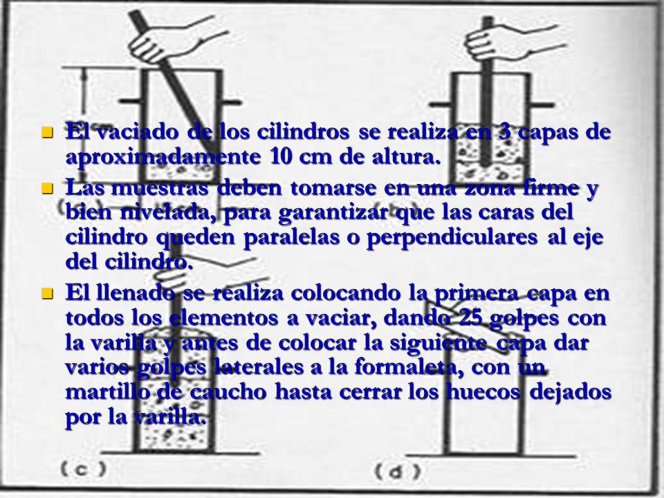 El vaciado de los cilindros se realiza en 3 capas de aproximadamente 10 cm de altura. El vaciado de los cilindros se realiza en 3 capas de aproximadam
