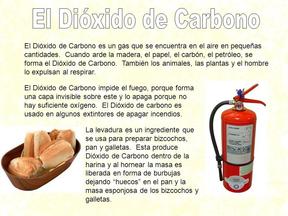 El Dióxido de Carbono es un gas que se encuentra en el aire en pequeñas cantidades. Cuando arde la madera, el papel, el carbón, el petróleo, se forma