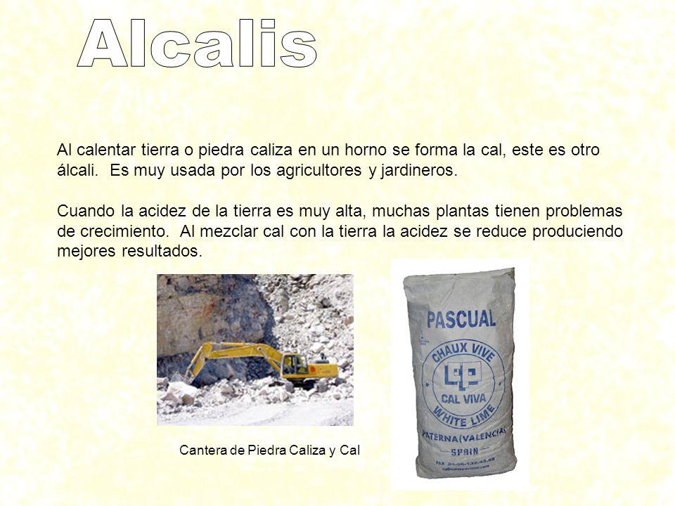 Al calentar tierra o piedra caliza en un horno se forma la cal, este es otro álcali. Es muy usada por los agricultores y jardineros. Cuando la acidez
