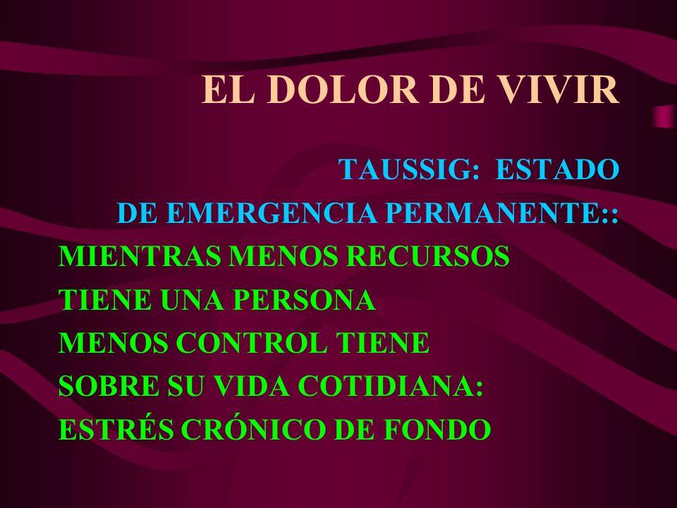 EL DOLOR DE VIVIR TAUSSIG: ESTADO DE EMERGENCIA PERMANENTE:: MIENTRAS MENOS RECURSOS TIENE UNA PERSONA MENOS CONTROL TIENE SOBRE SU VIDA COTIDIANA: ES