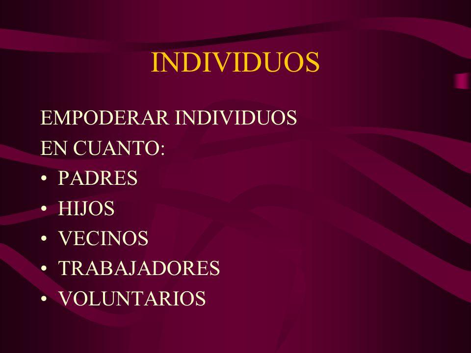INDIVIDUOS EMPODERAR INDIVIDUOS EN CUANTO: PADRES HIJOS VECINOS TRABAJADORES VOLUNTARIOS