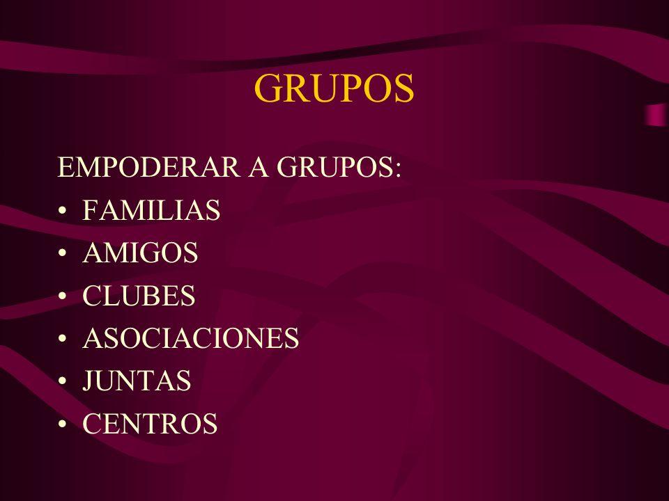 GRUPOS EMPODERAR A GRUPOS: FAMILIAS AMIGOS CLUBES ASOCIACIONES JUNTAS CENTROS