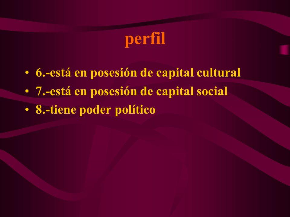 perfil 6.-está en posesión de capital cultural 7.-está en posesión de capital social 8.-tiene poder político