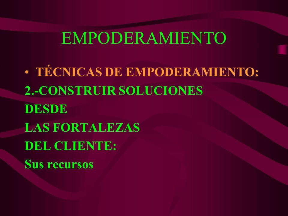 EMPODERAMIENTO TÉCNICAS DE EMPODERAMIENTO: 2.-CONSTRUIR SOLUCIONES DESDE LAS FORTALEZAS DEL CLIENTE: Sus recursos