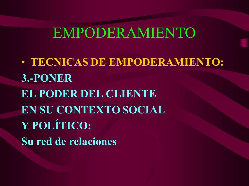 EMPODERAMIENTO TECNICAS DE EMPODERAMIENTO: 3.-PONER EL PODER DEL CLIENTE EN SU CONTEXTO SOCIAL Y POLÍTICO: Su red de relaciones