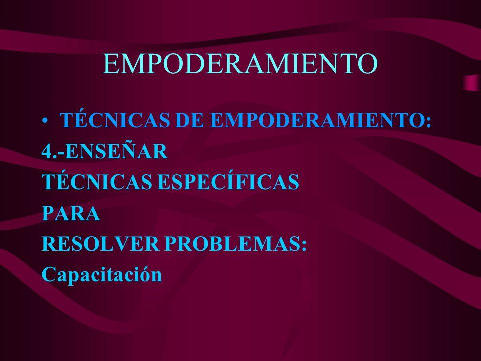 EMPODERAMIENTO TÉCNICAS DE EMPODERAMIENTO: 4.-ENSEÑAR TÉCNICAS ESPECÍFICAS PARA RESOLVER PROBLEMAS: Capacitación