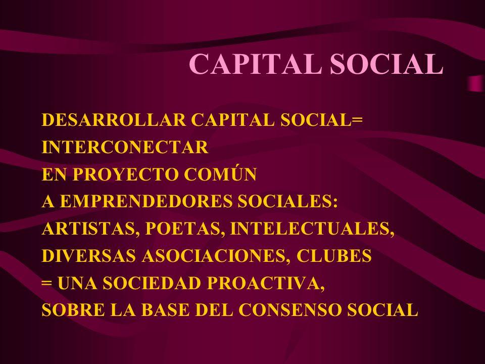 CAPITAL SOCIAL DESARROLLAR CAPITAL SOCIAL= INTERCONECTAR EN PROYECTO COMÚN A EMPRENDEDORES SOCIALES: ARTISTAS, POETAS, INTELECTUALES, DIVERSAS ASOCIAC